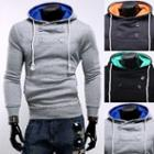 Double-buttoned Hooded Pullover