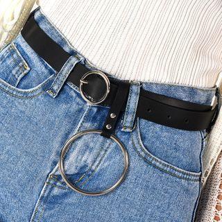 Faux Leather Hoop Accent Belt