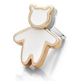 Kenny Bear White Enamel Earring (each) Steel - One Size