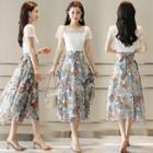 Short-sleeve Floral Print Panel Midi Dress
