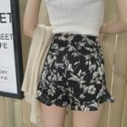 Printed Ruffle Hem Shorts