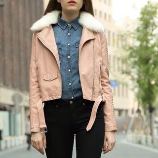 Faux Fur Trim Faux Leather Biker Jacket