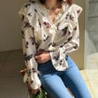 Floral Print Frill-trim Blouse Light Beige - One Size