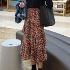 Floral Print Layered Midi Chiffon Skirt