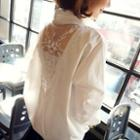 Mesh Inset Long-sleeved Blouse