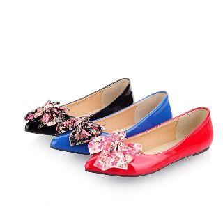 Bow-accent Pointy Toe Flats