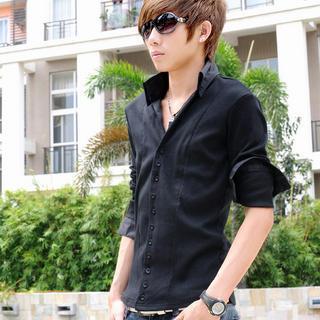 Contrast-trim Long-sleeve Shirt