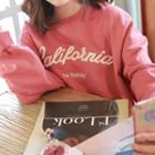Letter-embroidered Oversized Pullover