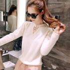 Keyhole-front Knit Top
