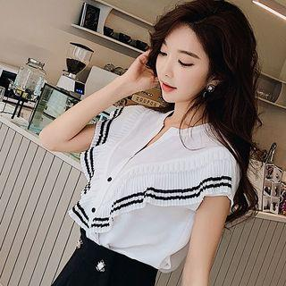 Short-sleeve Striped Trim Pleated Paneled Top