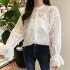 Set: Plain Long-sleeve Lace Top + Plain Camisole Top