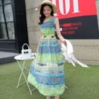 Patterned Sleeveless Maxi Chiffon Dress