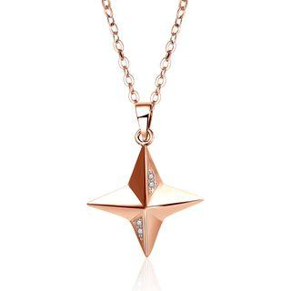 925 Sterling Silver Star Pendant Necklace Rose Gold - One Size