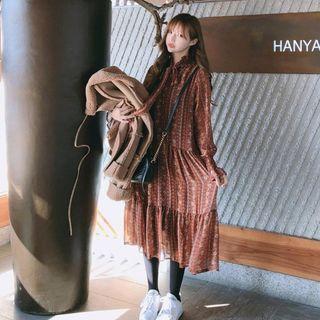 Patterned Layered Midi Dress