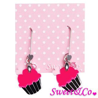 Sweet&co Mini Silver Fuchsia Cupcake Crystal Earrings Silver - One Size