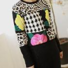 Roundneck Multi-pattern Knit Top Black - One Size