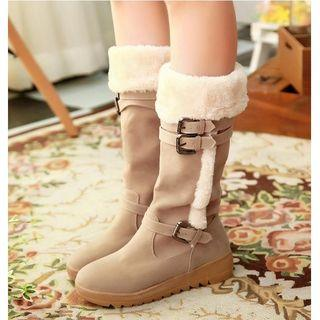 Fleece-lined Knee-high Boots