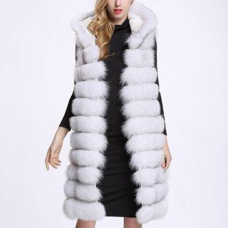 Hooded Faux Fur Long Vest