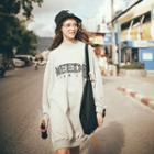 Embroidered Letter Long Pullover
