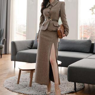Set: Button-up Jacket + Skirt + Belt