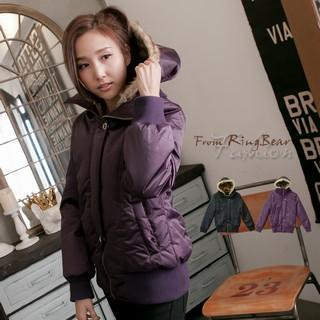 Faux-fur Removable Hooded Padded Jacket
