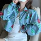Flower Print Cropped Denim Jacket Light Blue - One Size