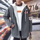 Patched Hooded Zip Coat