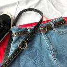Heart Buckle Faux Leather Slim Belt