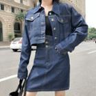 Set: Denim Jacket + Denim A-line Skirt