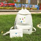 Heart Shape Buttoned Canvas Backpack