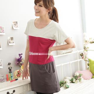 Short-sleeve Color-block Dress