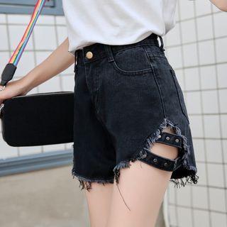 Washed Studded Distressed Denim Shorts