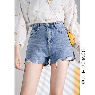 Bee-embroidered High-waist Denim Shorts