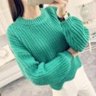 Lantern Sleeve Chunky Knit Sweater