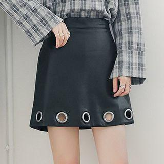 Grommet A-line Faux Leather Skirt