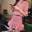 Chiffon Floral Ruffled Mini Dress