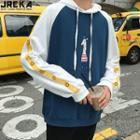 Colorblock Cartoon-print Hooded Pullover