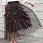 Flower Embroidered Midi Tulle Skirt