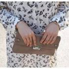 Faux Leather Push Lock Crossbody Bag