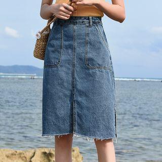 Frayed Hem Slit Denim Skirt