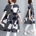 Patterned Short Sleeve Shirt Dress