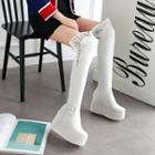 Lace Trim Platform Over-the-knee Boots
