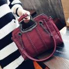 Faux-leather Woven Shoulder Bag
