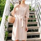 Short-sleeve Cold-shoulder Buttoned Dress With Sash
