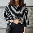 Striped Elbow-sleeve Polo Shirt