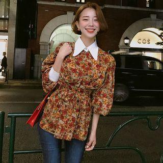 Long-sleeve Tie-waist Floral Top