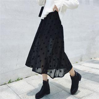 Polka Dot Midi A-line Chiffon Skirt Black - One Size