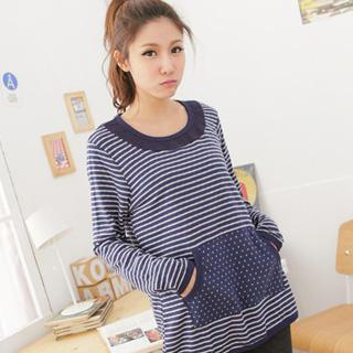 Polka Dot-pocket Striped Long Top