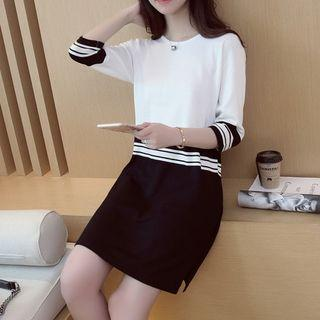 3/4-sleeve Color Block Knit Dress