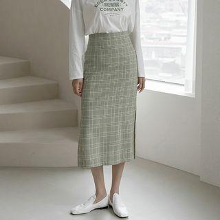 Long Plaid Pencil Skirt